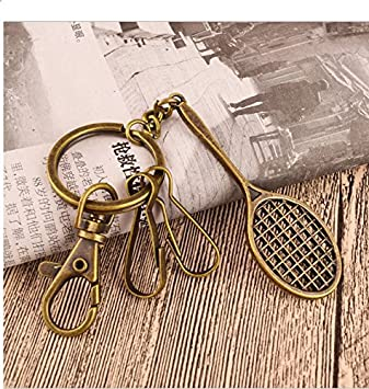 eMosQ Classic Vintage Metal Brass Creative Handmade Keychains Beautifully  Gift Boxed (Tennis Racket - Antique 4170c729e88c