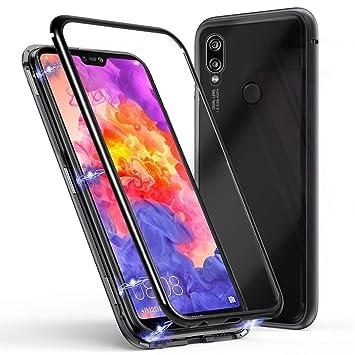 Wanxideng Funda Huawei P20 Lite, Carcasa Ultra Delgada Liviana Dura, Marco de Metal + Contraportada de Vidrio Templado con Tecnología de Adsorción ...