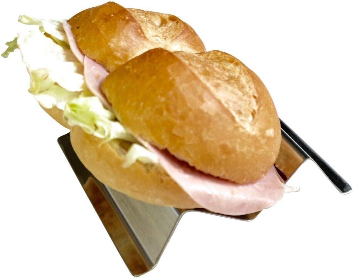 Edelstahl SNACKWELLE Sandwich Halter in unterschiedliche Gr/ö/ßen f/ür Imbiss Wurst Wurstablage Ablage Hotdog Wursthalter Holder Br/ötchenhalter Gestell Bratwurst Baguette Grill Kuchen D/önerhalter