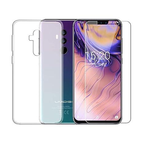 QFSM Funda para UMIDIGI Z2 SE (2018) Silicona Carcasa TPU Case Cover + 1 Pack HD Película Protectora Cristal Templado para UMIDIGI Z2 SE (6.2