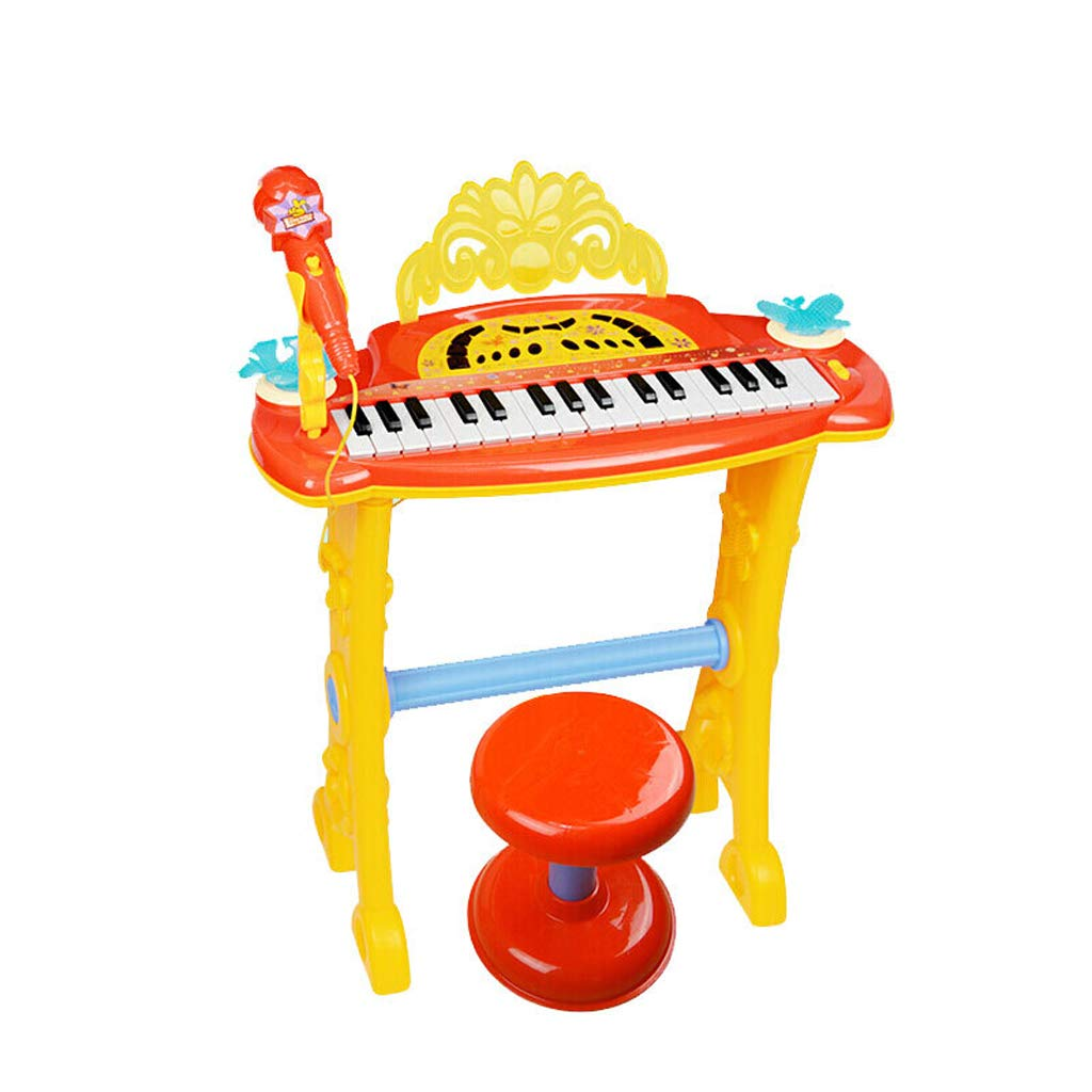 LIUFS-Piano Children's Keyboard Girl Toy Piano Microphone Puzzle Music Early Education Singing Machine (Color : Orange)