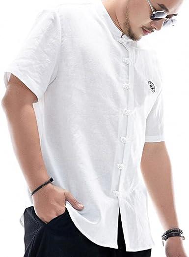Camisa De Hombre De Estilo Chino Mezcla De Algodón Camisa Holgada Vintage Bordada Comodidad De Verano De Manga Corta: Amazon.es: Ropa y accesorios