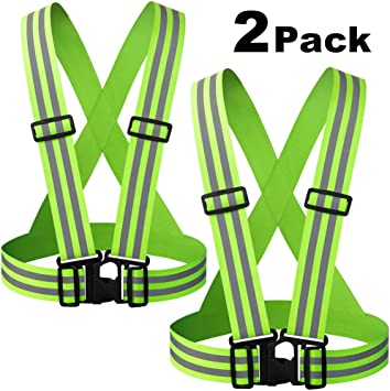 Jogging Safety /& High Visibility for Running Fits Over Outdoor Clothing Motorcycle Jacket//Gear Walking Adjustable /& Elastic Cycling Safety Reflective Vest Sports Gear Lightweight