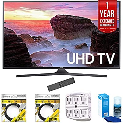"Samsung 55"" 4K Ultra HD Smart LED TV 2017 Model (UN55MU6300) with 2x 6ft High Speed HDMI Cable, Stanley 6-Outlet Surge Adapter, Screen Cleaner for LED TVs & 1 Year Extended Warranty"