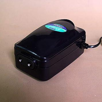 Bomba de aire para acuario de alta potencia Tanque de peces Mini Compresor silencioso Salida Bombas de oxígeno Acuarios Accesorios acuáticos - Negro: ...
