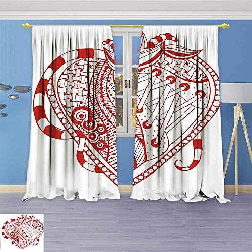 Rustic Home Decor Curtains,with Ornamental Lines and Shoelaces Striped Bands Spirals Love Illustration Red White,Living Room Bedroom Window Drapes 2 Panel Set (Peanut Spiral Red)