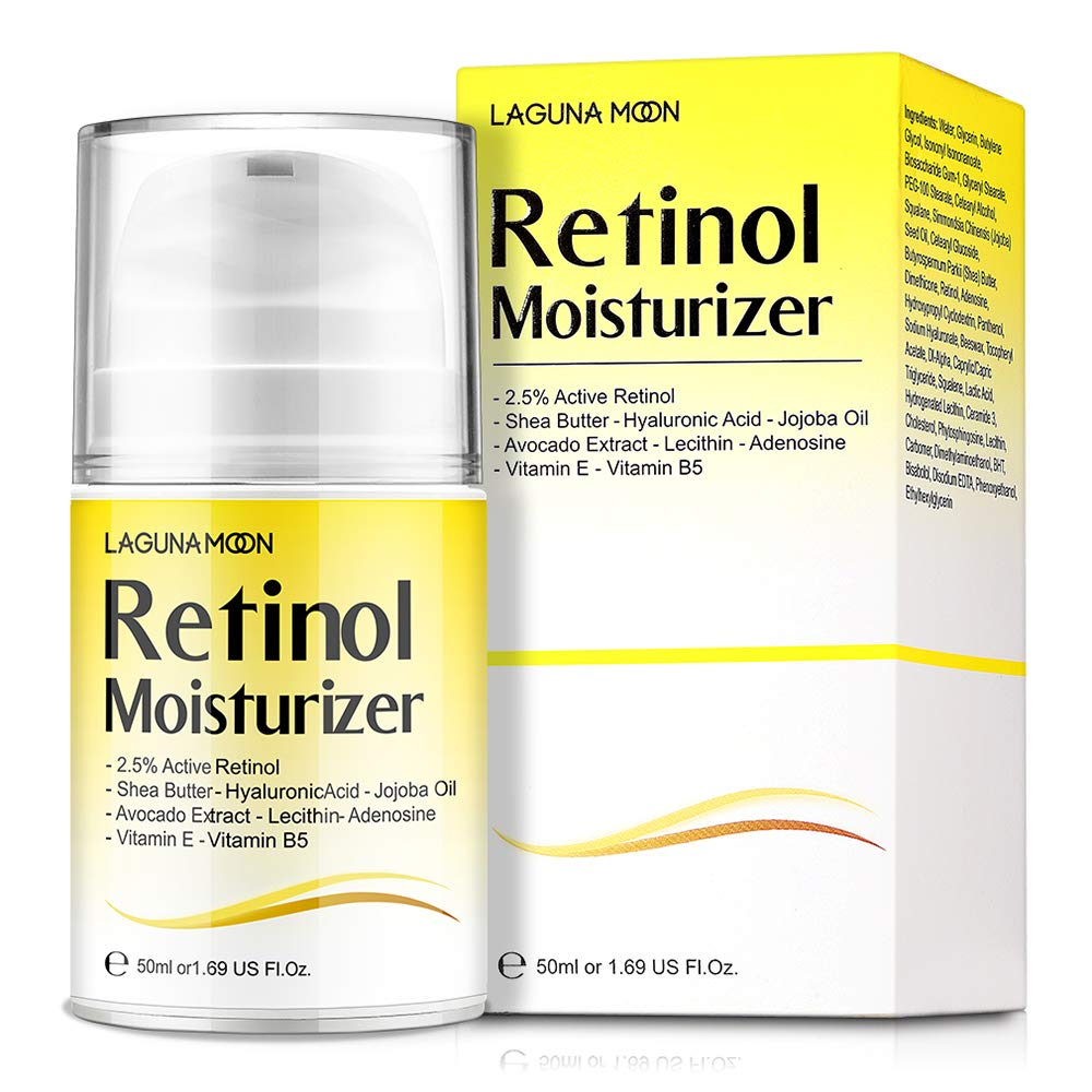 Lagunamoon Retinol Moisturizer Cream for Face & Eyes with Hyaluronic Acid and Vitamin E, 50ML/1.69 Oz
