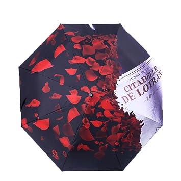 Cotangle - Paraguas para Mujer con diseño de pétalos Rosas y antirayos UV, Impermeable,