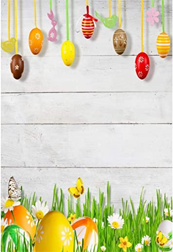 Yeele-Easter-Backdrop 6x4ft Easter Photography Background Eggs Basket Rabbit Brown Wooden Plank Grassland Photo Backdrops Pictures Studio Props Wallpaper