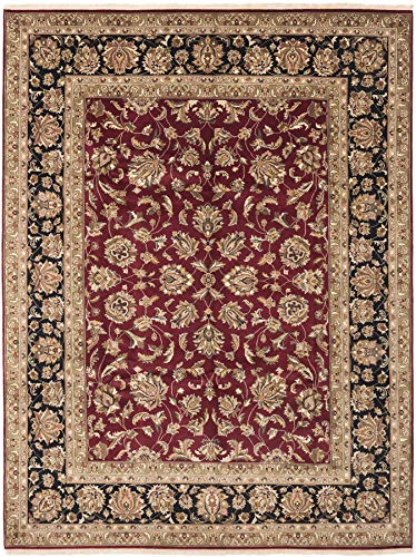 eCarpet Gallery Large Area Rug for Living Room, Bedroom | Hand-Knotted Wool Rug | Finest Agra Jaipur Bordered Red Rug 8'6