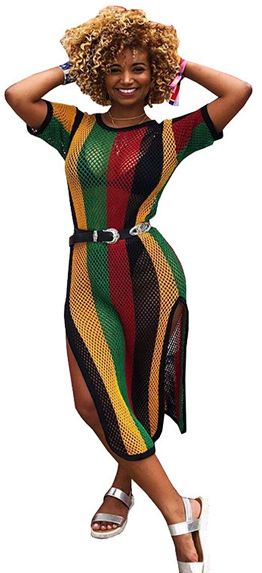 Swimsuit Cover up Womens Round Neck Short Sleeves Colorful Rainbow Stripe Side Split Fishnet Dress (XL, Rainbow1)