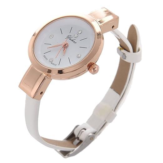 Reloj de pulsera - SODIAL(R)Reloj de pulsera de correa delgada de cuero de imitacion para senoras y mujeres blanco: Amazon.es: Relojes