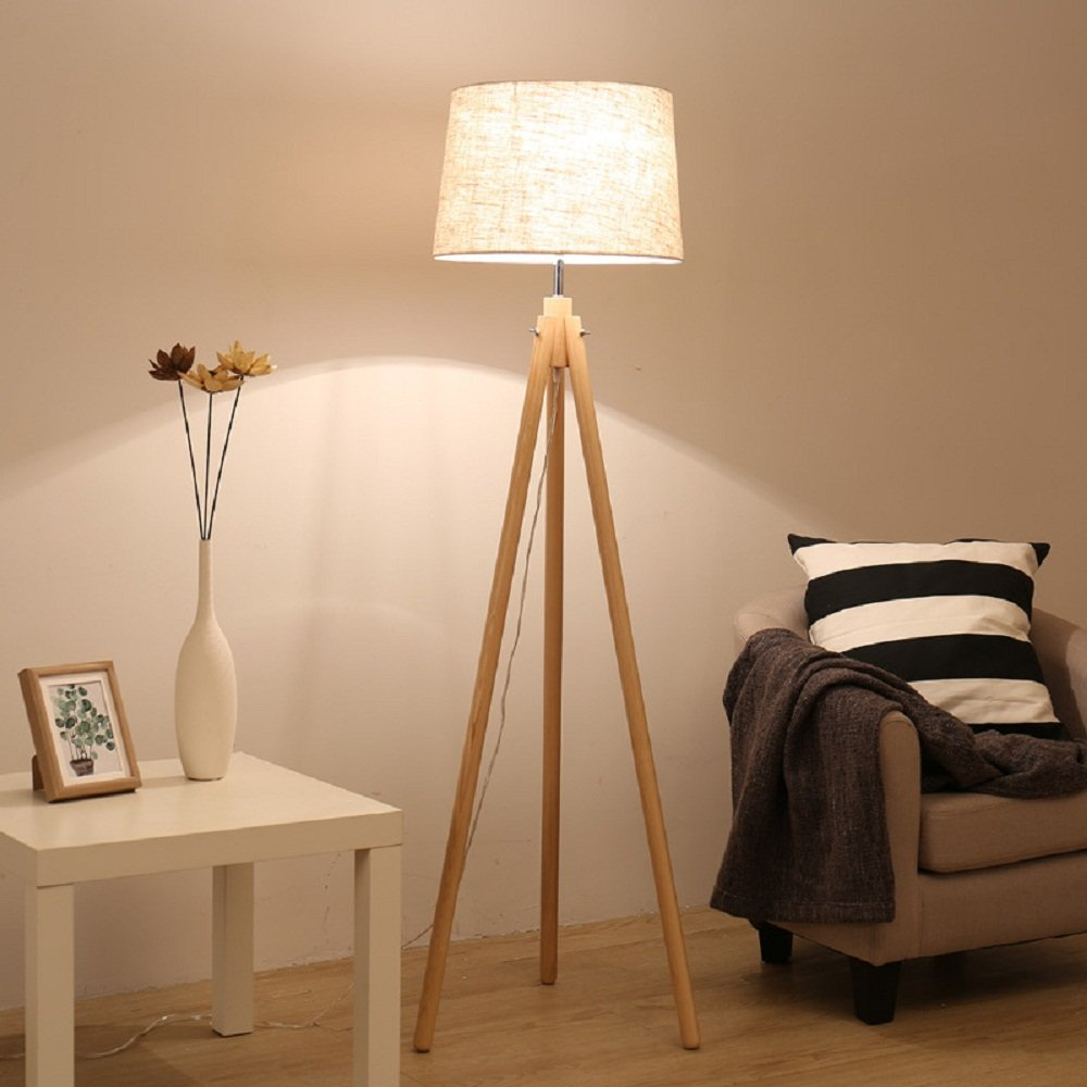 Lighting Groups Hallway Floor Lamp with Linen Cloth Shade Living Room Nordic Solid Wood Three-foot Study Room High Floor Light Aisle Lights (Linen)