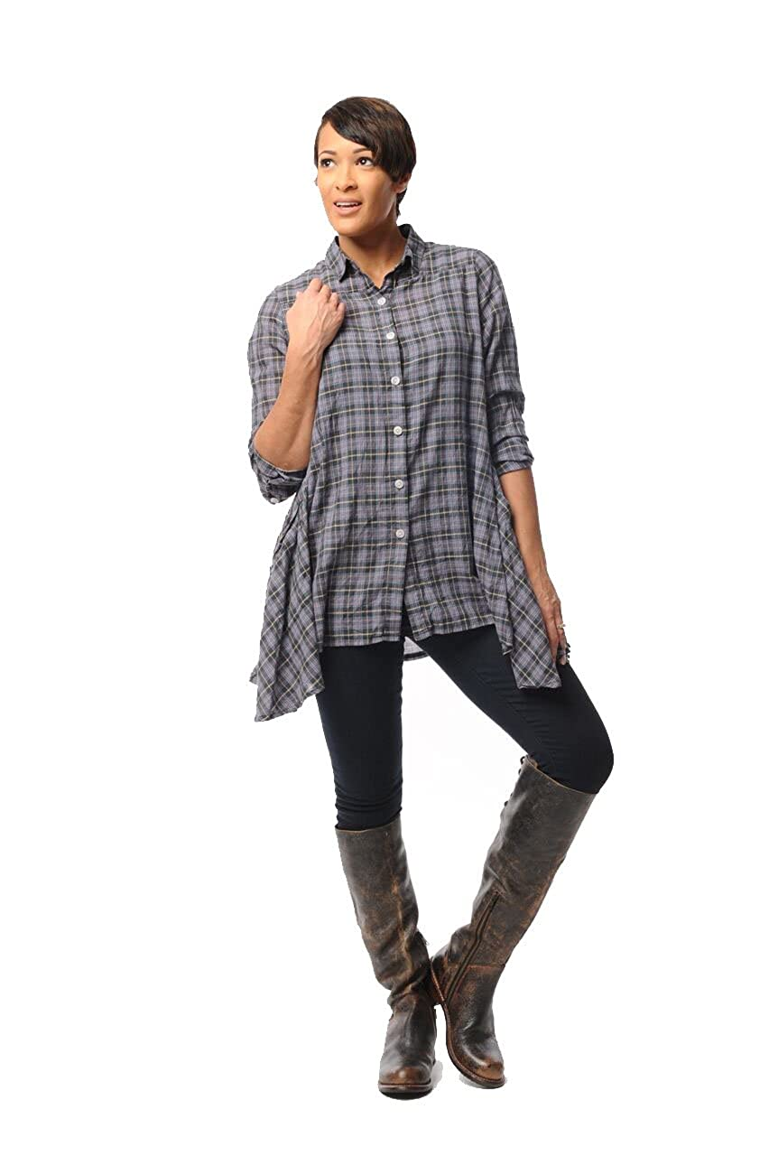 XL Tulip Clothing Mimi Button Down Tunic 100/% Cotton in Constance Plaid Lagenlook Sizes XS