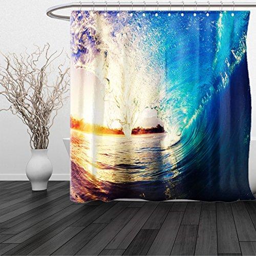 HAIXIA Shower Curtain Ocean Sunrise on Waves Surfer Perspective Surreal Coastal Charm Sports Lifestyle Scene Blue Pale Mauve