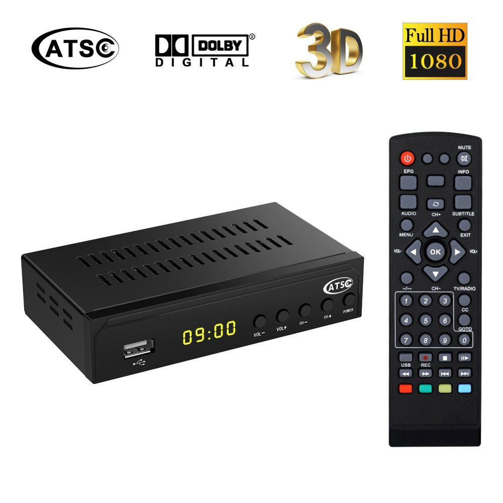 Digital ATSC HD TV Receiver Converter Tuner Box for Analog TV with Recording PVR Function HDMI YPbPr RCA Coaxial Composite Output / USB Input USA
