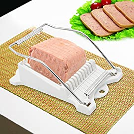 Luncheon Meat Slicer Yummy Sam Cheese Slicer Boiled Egg Slicer Fruit Slicer Soft Food Slicer Sushi Cutter Canned Meat Slicer with 10 Cutting Wire in Stainless Steel 14 The slicer is designed with 10 cutting wire,which are sharp and cut soft food easily, such as: luncheon meat, cheese, boiled egg, peeled pitaya, peeled Kiwi, ham etc. It is constructed out of durable ABS and stainless steel. Cut several slices in one try. Ideal for a variety of types of meat,cheese,fruit,vegetables.