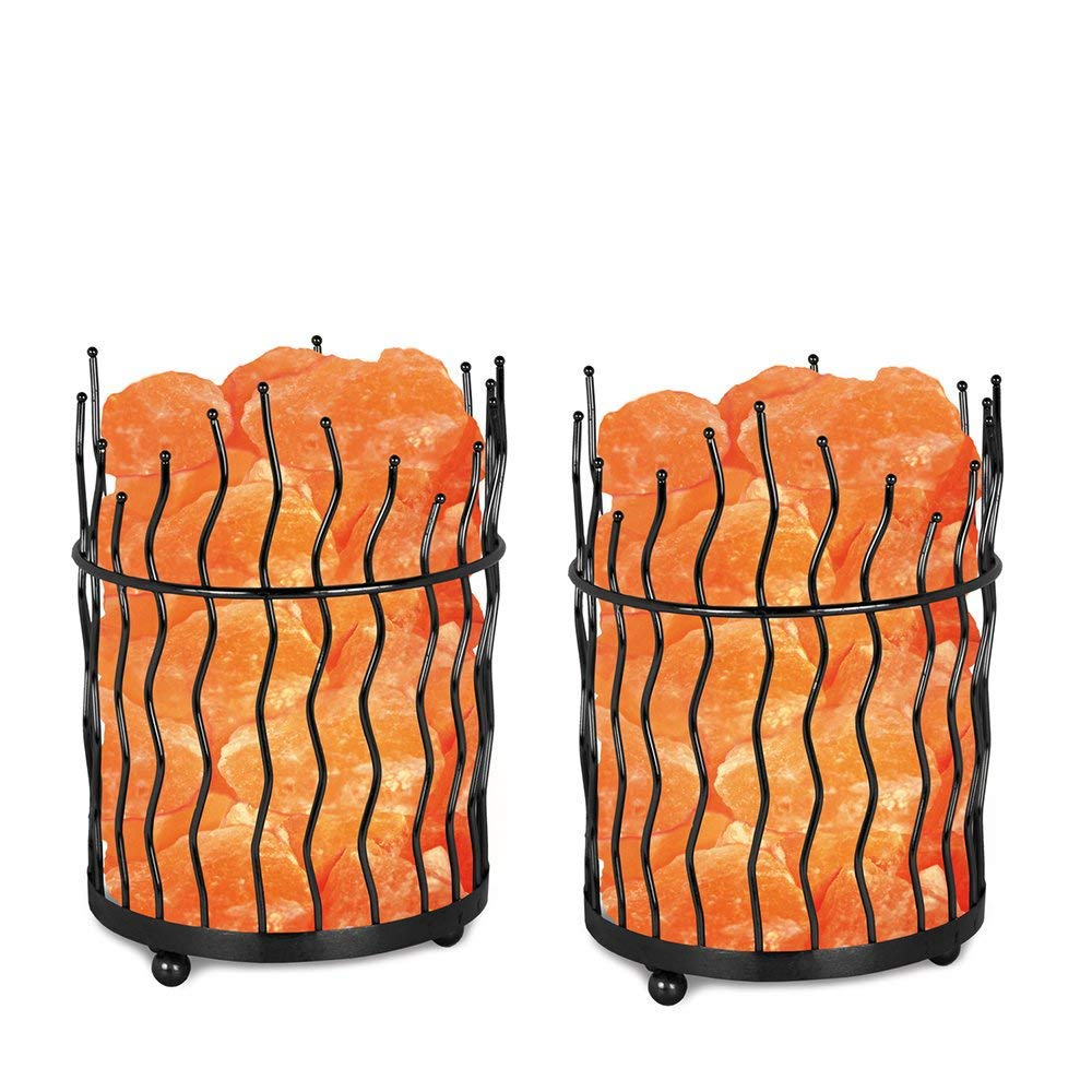Himalayan Glow Pillar Style Basket Lamps, Pure Himalayan Salt Basket Night Lamp with Salt Chunks, Light Bulb and Dimmable Switch (2-Pack)