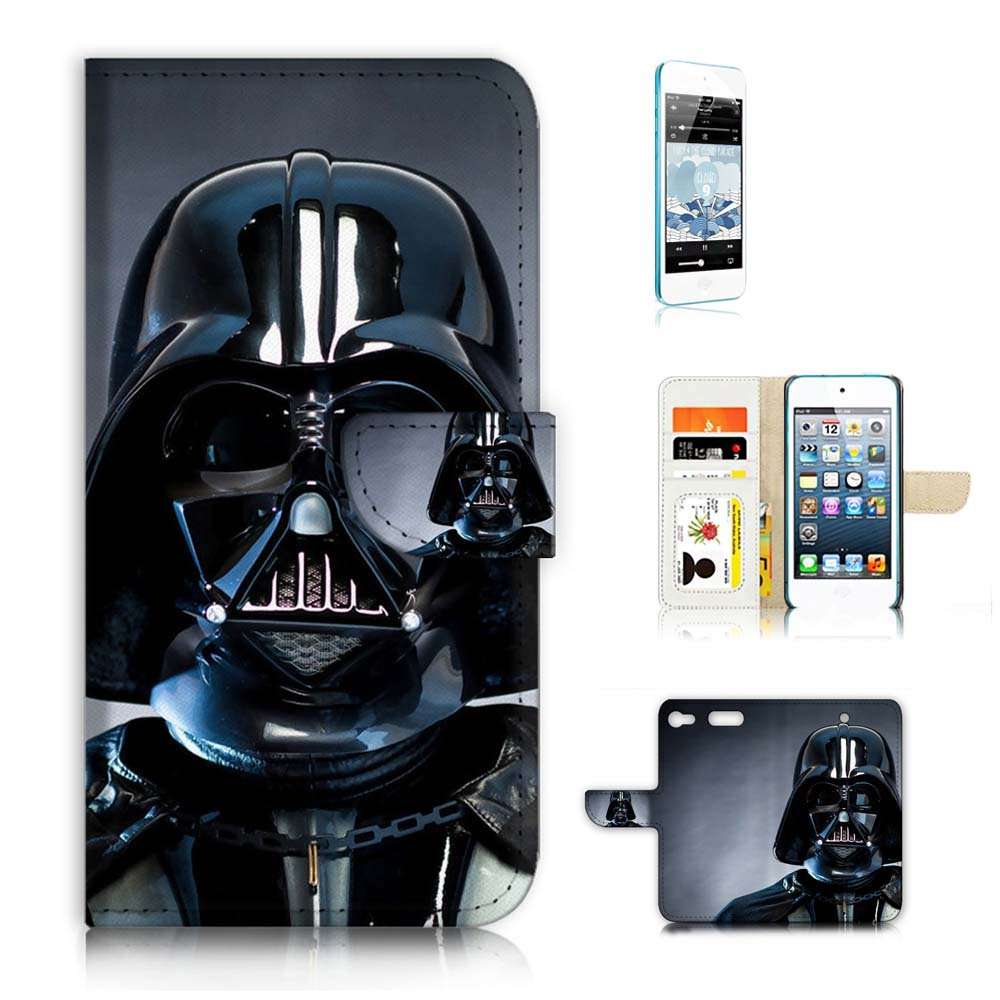 ( For iPod Touch 6 iTouch 6 ) Flip Wallet Case Cover & Screen Protector Bundle! A6541 Darth Vader Starwars