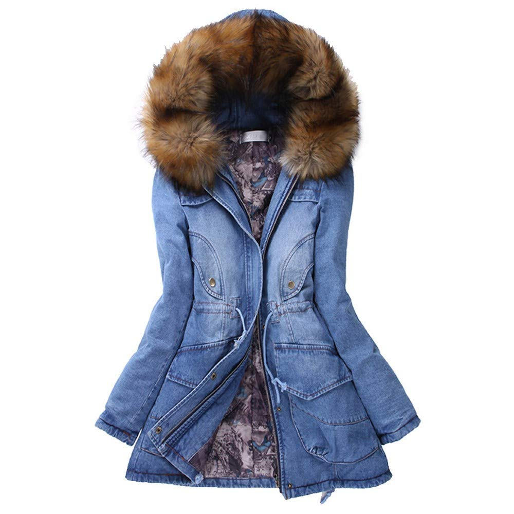 CHIDY Womens Faux Fur Hooded Thickened Denim Parka Slim Drawstring Winter Warm Jacket Long Outwear(Medium,Blue) by CHIDY