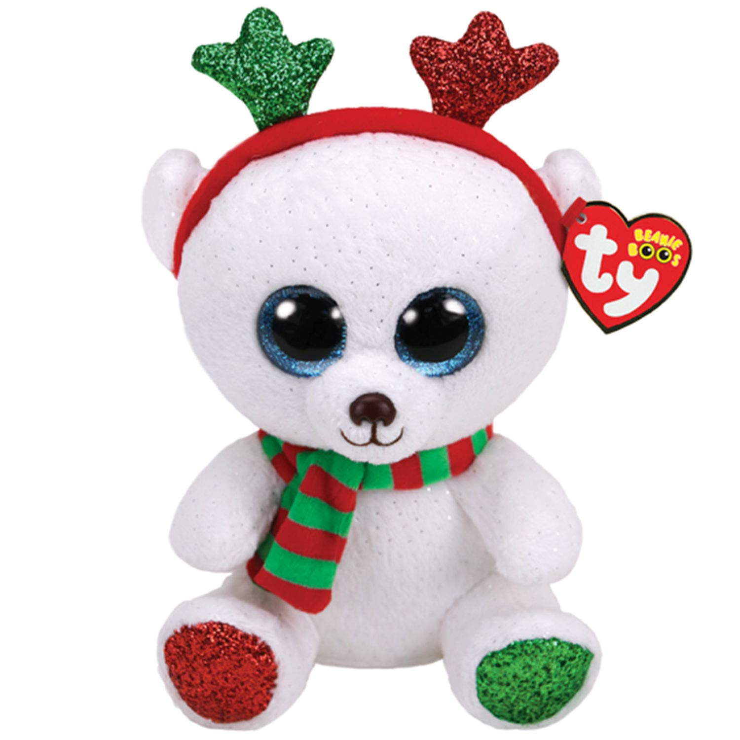 Amazon.com  Ty Claire s Beanies Girl s Beanie Boo Large Frost The Christmas  Bear Soft Toy  Ty Beanies  Toys   Games 8b15c36c0404