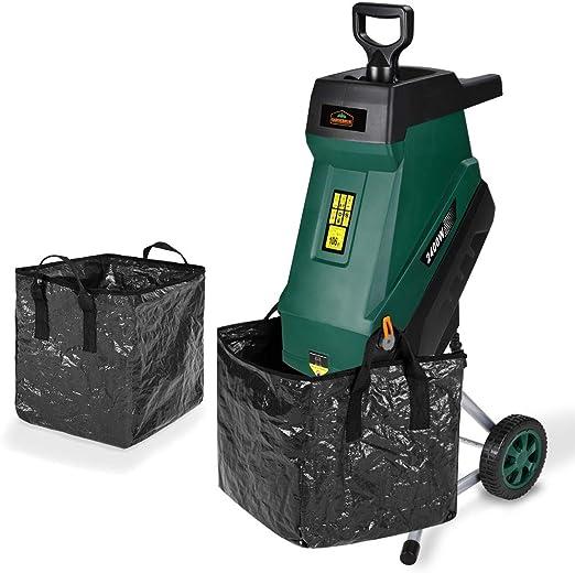 Deuba Trituradora silenciosa de 2400W con bolsas de recolección cuchillas de acero con ruedas para ramas de hasta 45 mm: Amazon.es: Jardín