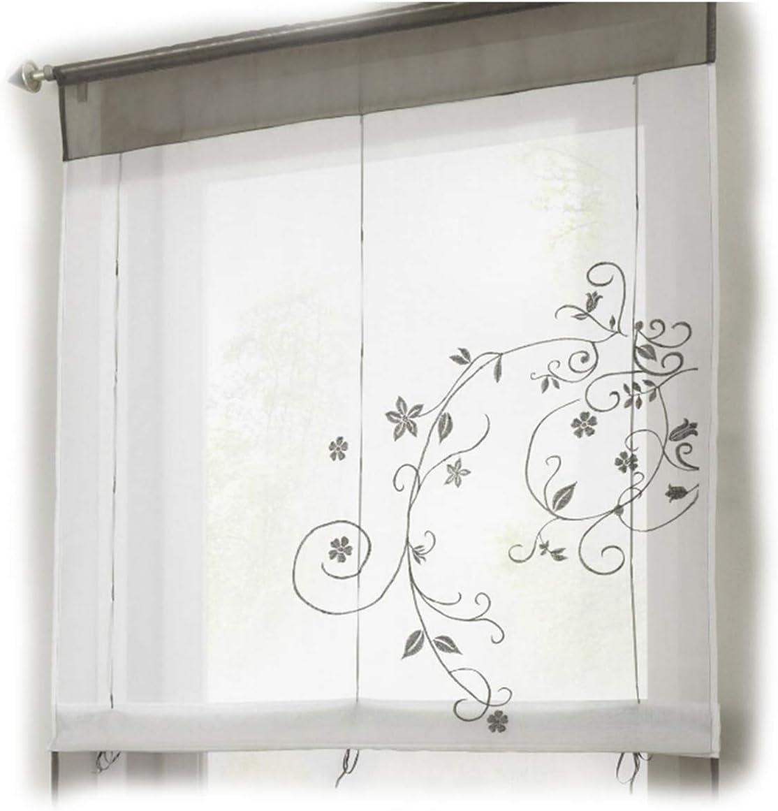 Ogquaton - Cortina de pastoral, polo tipo cinta romana ciega, para casa, cocina, ventana, decoración, color gris, 80 x 100 cm: Amazon.es: Amazon.es