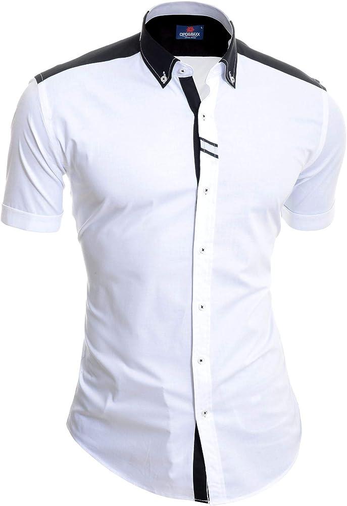 Cipo & Baxx Camisa de Manga Corta para Hombre Polo Blanco Negro Algodón Slim Fit: Amazon.es: Ropa y accesorios
