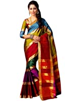 Miraan Women's Cotton Saree With Blouse Piece (Namolailla_Multicolor)