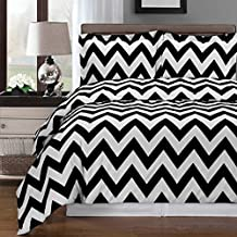 Luxurious Silky Soft 3 Piece Full Size Chevron Black and White Reversible Duvet Cover Set, 100% Egyptian Cotton