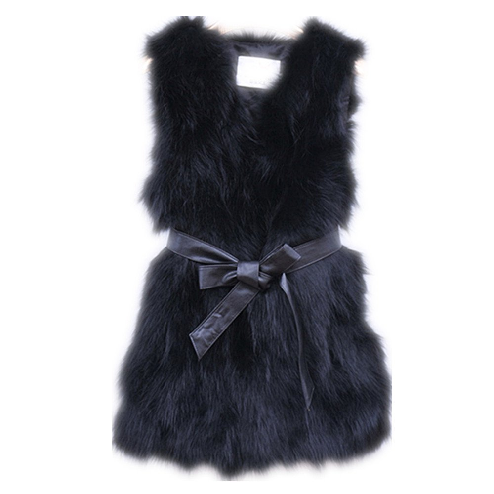 GEGEGUR Real Silver Fox Fur Vest Nature Fox Fur Waistcoat Warm Gilet Luxury Jacket (bust 110cm,length 70cm, black) by Gegefur