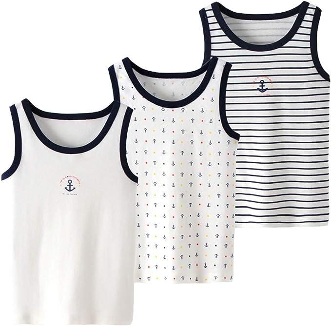 SXSHUN Niños/Niñas 3 Pcs Camiseta de 100% Algodón con Tirantes de Verano Pijama Transpirable y Ligero sin Mangas para Bebés, Anclas/Azul Marino, 24 Meses (Altura Recomendada: 100cm): Amazon.es: Ropa y accesorios