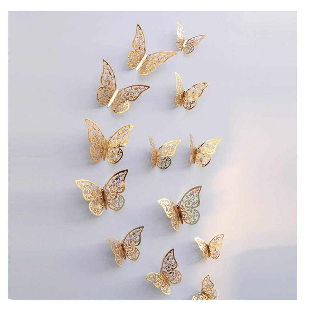 callm Wall Stickers,12 Pcs 3D Hollow Wall Stickers Butterfly Home Decorations 3D Butterfly for Cars Fridges Laptops Walls (E Gold)