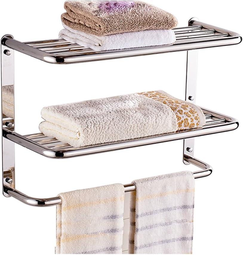 24 Inch Bathroom Shelf 3-Tier Wall Mounting Rack with Towel Bars