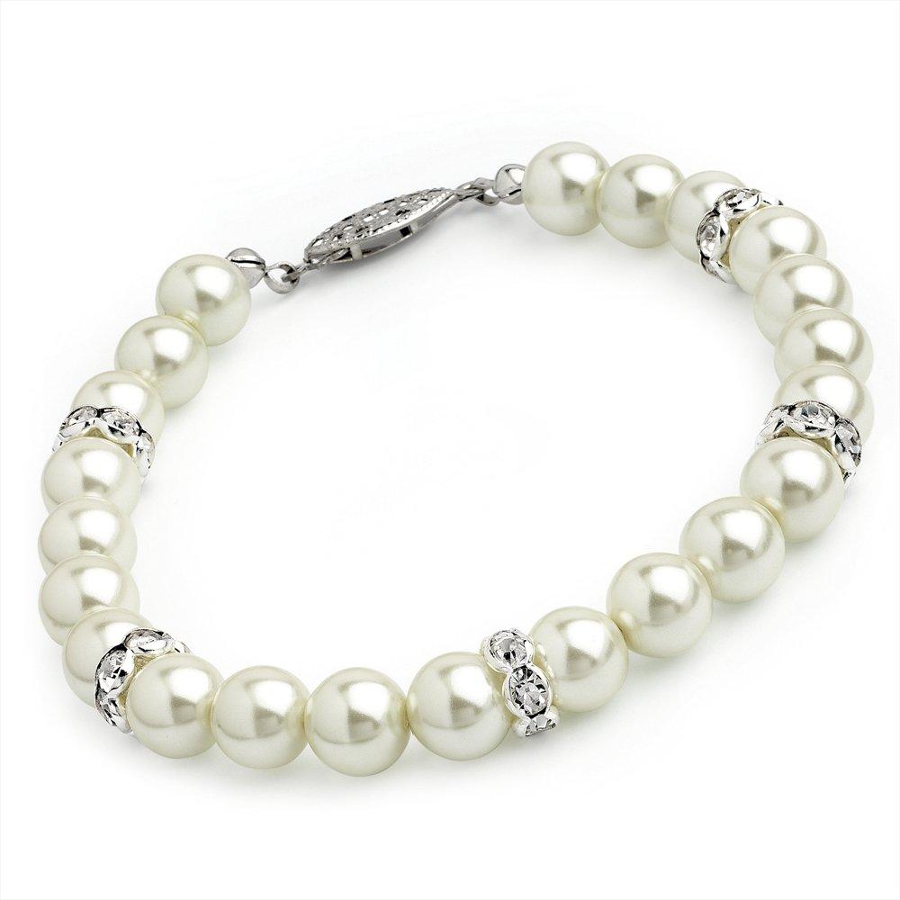 Cream Pearl Glass Bracelet Bl07418 My1stWish AJBL7418-54