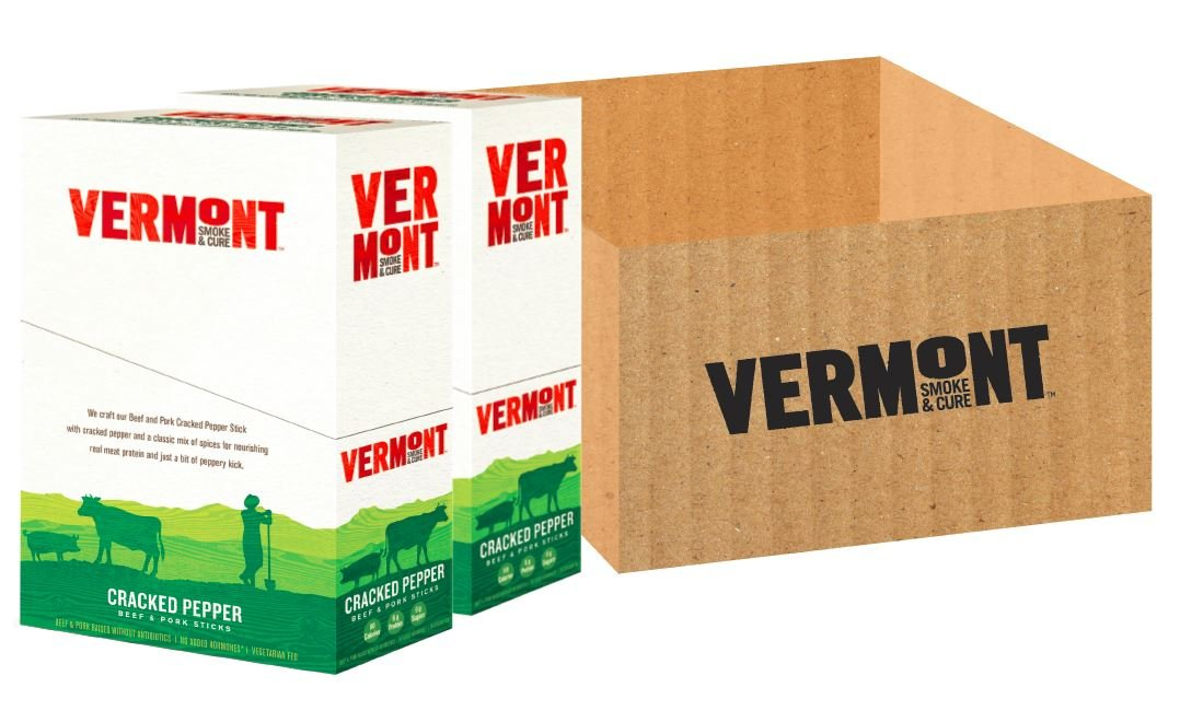 Vermont Smoke & Cure Meat Sticks- Antibiotic Free Beef & Pork -Gluten-Free Snack - Paleo and Keto Friendly - Cracked Pepper - 1oz Stick - 48 Count