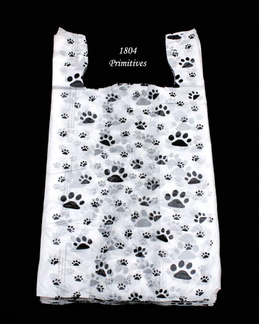 Primitive & Country Style 100 Cat or Dog PAW Print Plastic T-Shirt Bags ~ 22'' L x 12'' W x 7'' Gusset Rustic Home Decor