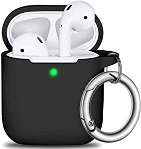 AirPods Case Cover with Keychain, Full Protective Silicone Skin Cover for Women Men Girl boy with Apple AirPods Series 1&2 Wire& Wireless Charging Case,Front LED Visible-Black