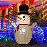 6' Snowman Christmas LED Lighted Outdoor Airblown Inflatable Yard Decoration w/ Scrolling Merry Christmas Greeting