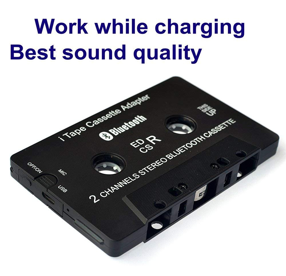 Car Bluetooth Audio Cassette Adapter/Bluetooth Music Receiver for Cassette Decks Work While Charging