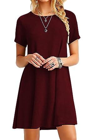 995ed2375d9f YMING Women Casual Loose T-Shirt Dress Round Neck Short Sleeve Summer Dress