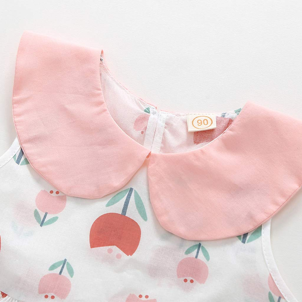 Toddler Baby Girl Dress Lotus Leaf Collar Sleeveless Floral Dresses Little Princess Pleated Skirt Spring Clothes