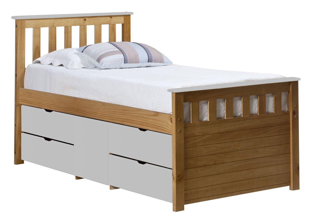 Design Vicenza Captains Ferrara Aufbewahrung Bett lang 3Ft Antik mit weißen Details