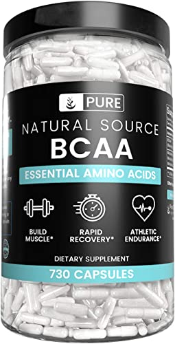 Natural Source BCAA, 730 Capsules, 6 Month Supply, No Magnesium or Rice Fillers, 2 1 1 Ratio, Non-GMO, Made in USA, Paleo Keto Friendly, Gluten-Free, Undiluted BCAA with No Additives