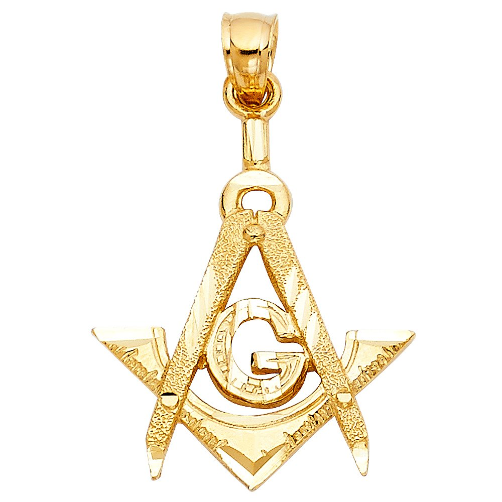 14k Yellow Gold Freemason Masonic Pendant Charm