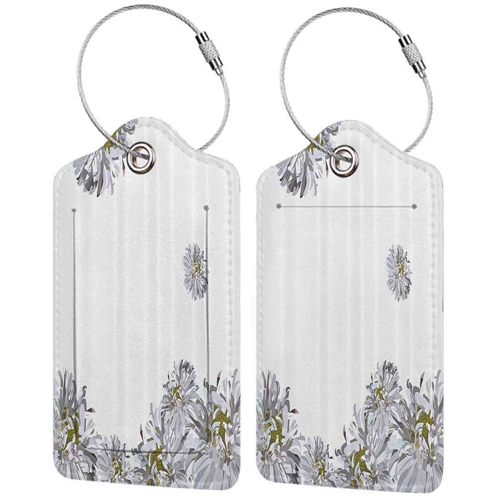 Waterproof luggage tag Dahlia Flower Decor Flourishing Summer Fusion Poppy Chamomile Purity Icons of Habitat Art Soft to the touch Grey Mustard W2.7 x L4.6