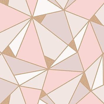 Trance Geometric Wallpaper Blush Rose Gold Fine Decor M1431