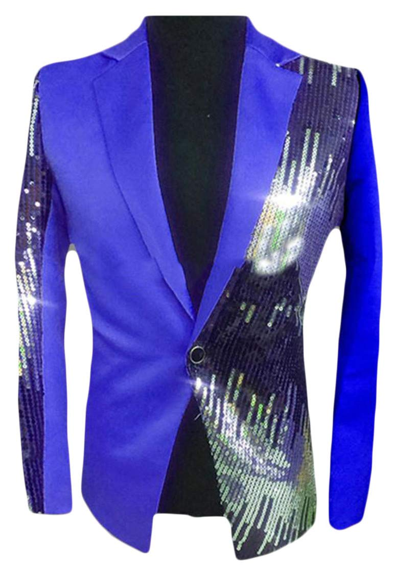 Cromoncent Mens Casual Clubwear Moderator Sequins Contrast Color One Button Sports Blazer Jacket Jewelry Blue XXS