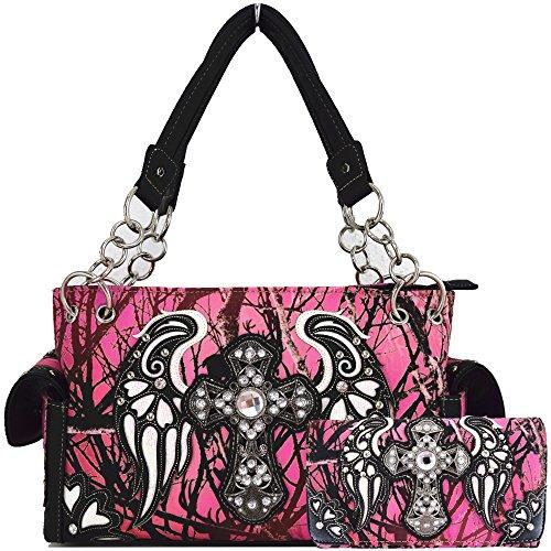 Camouflage Cross Wings Western Style Concealed Carry Purse Country Handbag Women Shoulder Bag Wallet Set (Pink Set)