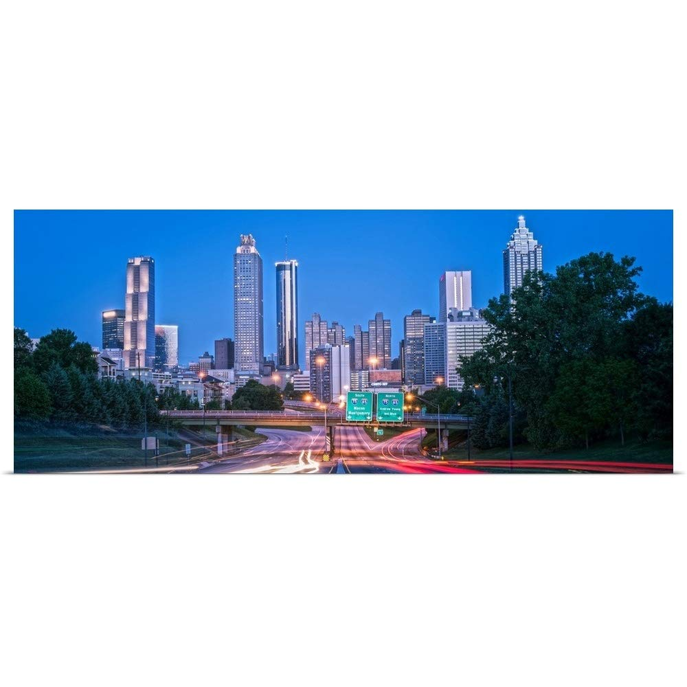 greatBIGcanvas Poster Print Entitled Light Trails from Traffic The Atlanta, Georgia Skyline at Dusk Circle Capture 48''x19''